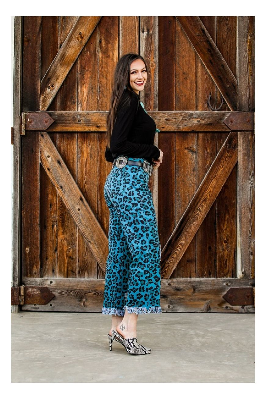 THE TEAL LEOPARD PRINTED BOYFRIEND JEANS - Ny Texas Style Boutique