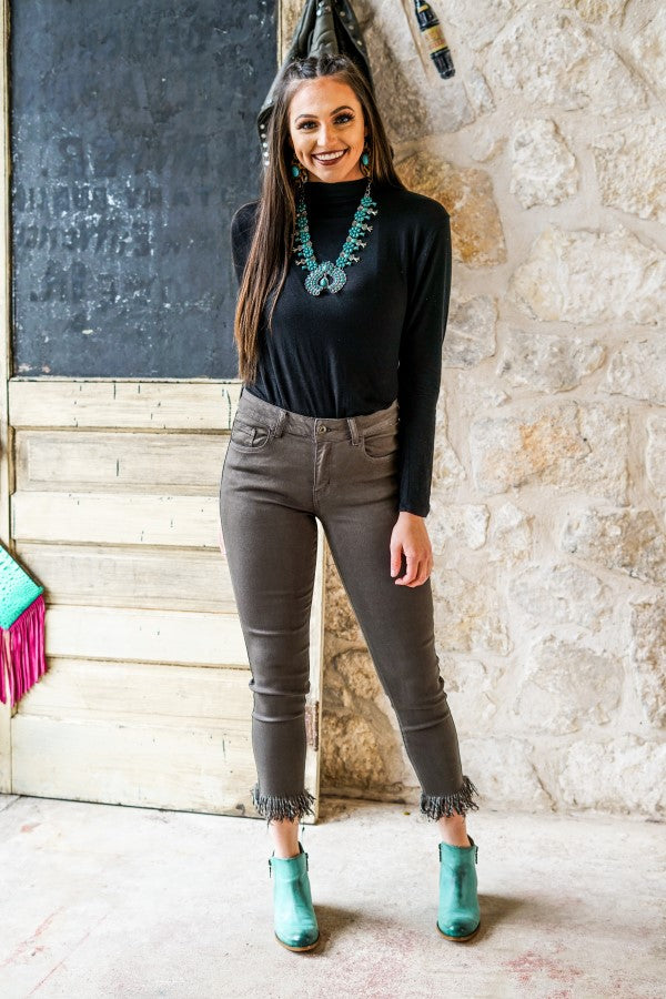The Olive Skinny Frayed Jeans - Ny Texas Style Boutique