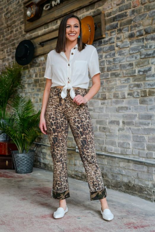 THE LEOPARD PRINT WITH CAMO CUFF JEAN - Ny Texas Style Boutique