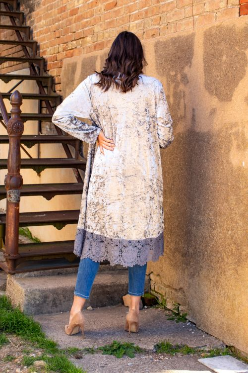 The Charcoal Grey Velvet Lace Duster