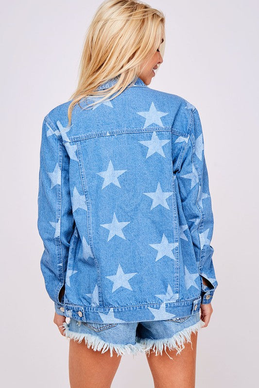 The Pagent Material Star Printed Denim Jacket - Ny Texas Style Boutique