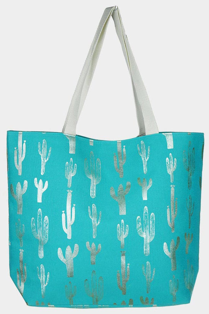 The Turquoise Cactus Tote Bag