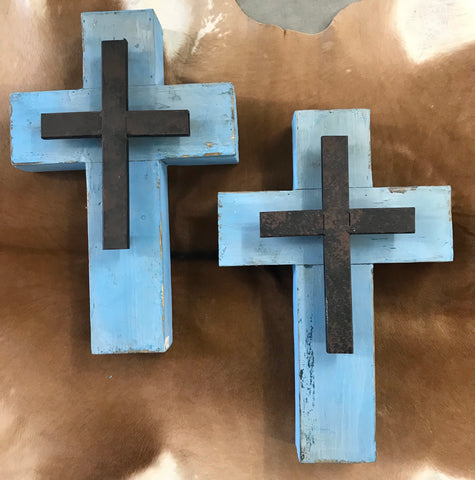 Blue Wood & Metal Cross - Ny Texas Style Boutique
