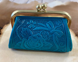 The Blue Tooled Leather Coin Purse