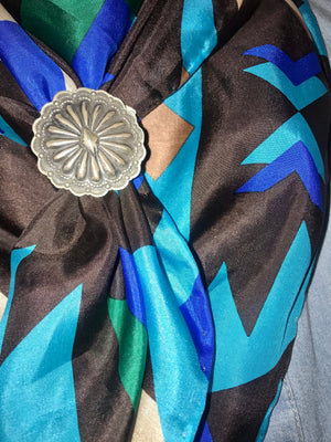 The Brown & Blue Aztec Wild Rag - Ny Texas Style Boutique
