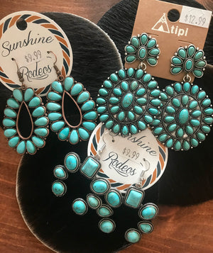 The Velvet Elvis Earrings (Turquoise) - Ny Texas Style Boutique