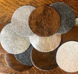 Set of 4 Cowhide Coasters - Ny Texas Style Boutique