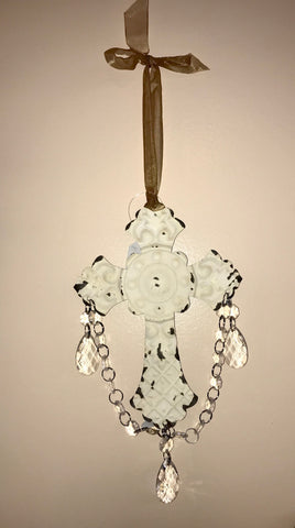 White Hanging Cross - Ny Texas Style Boutique