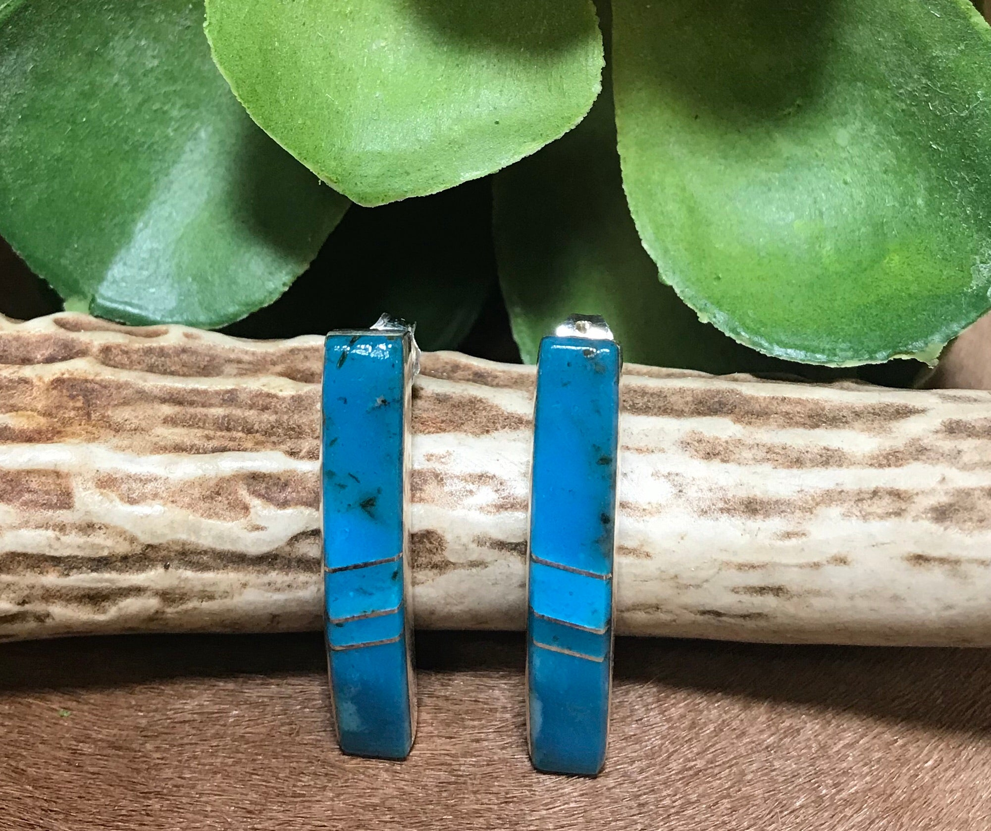 Blue Clear Skies Inlaid Turquoise Post Earrings - Ny Texas Style Boutique