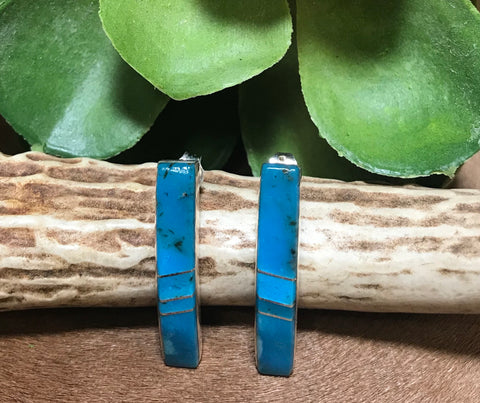 Blue Clear Skies Inlaid Turquoise Post Earrings