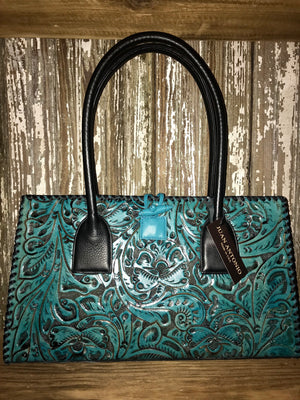 Ole Loretta Turquoise Tooled Leather Purse - Ny Texas Style Boutique