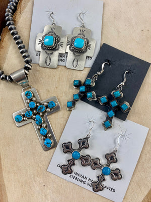 The G Turquoise Cross Earrings - Ny Texas Style Boutique