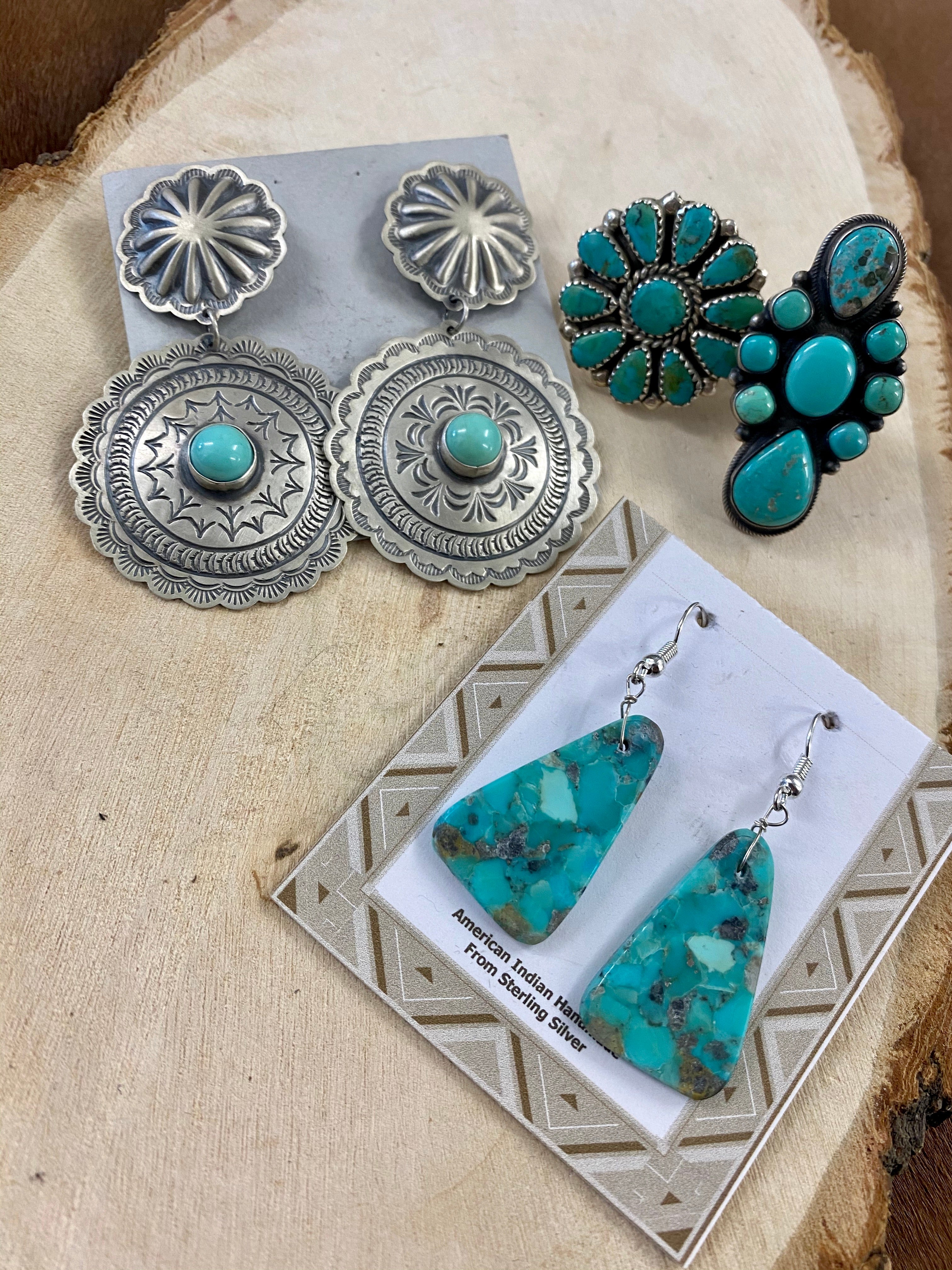 The Harris Joe Concho Turquoise Earrings - Ny Texas Style Boutique