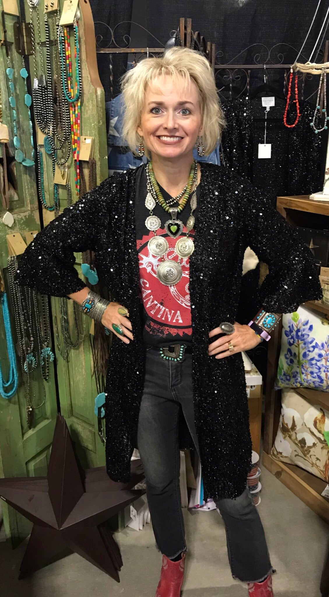 The Joplin Black Sparkle Kimono - Ny Texas Style Boutique