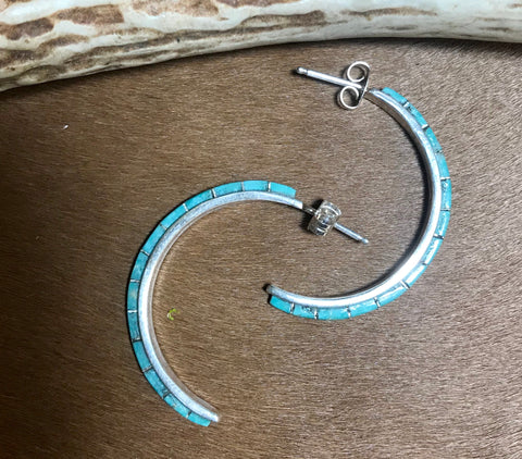 Neon Blues Post Inlaid Turquoise Earrings