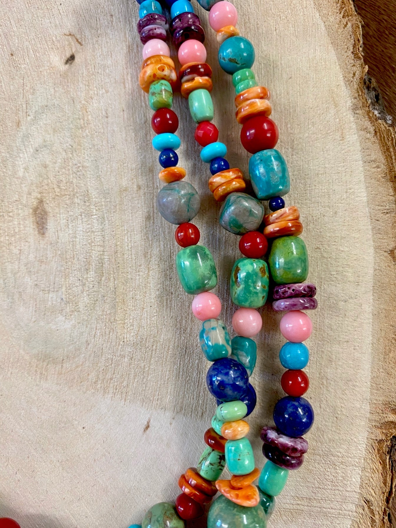 The Mixed Stone 3 Strand Necklace
