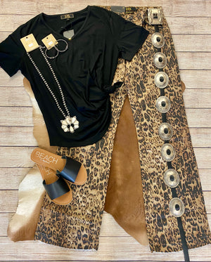 THE LEOPARD WIDE LEG DENIM FLARE JEANS