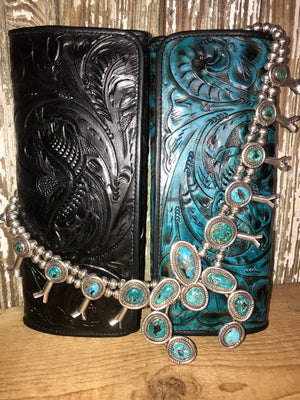 Ole Juan Black Tooled Leather Wallet - Ny Texas Style Boutique