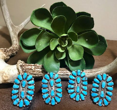 Cowboys Sweetheart Turquoise cluster rings
