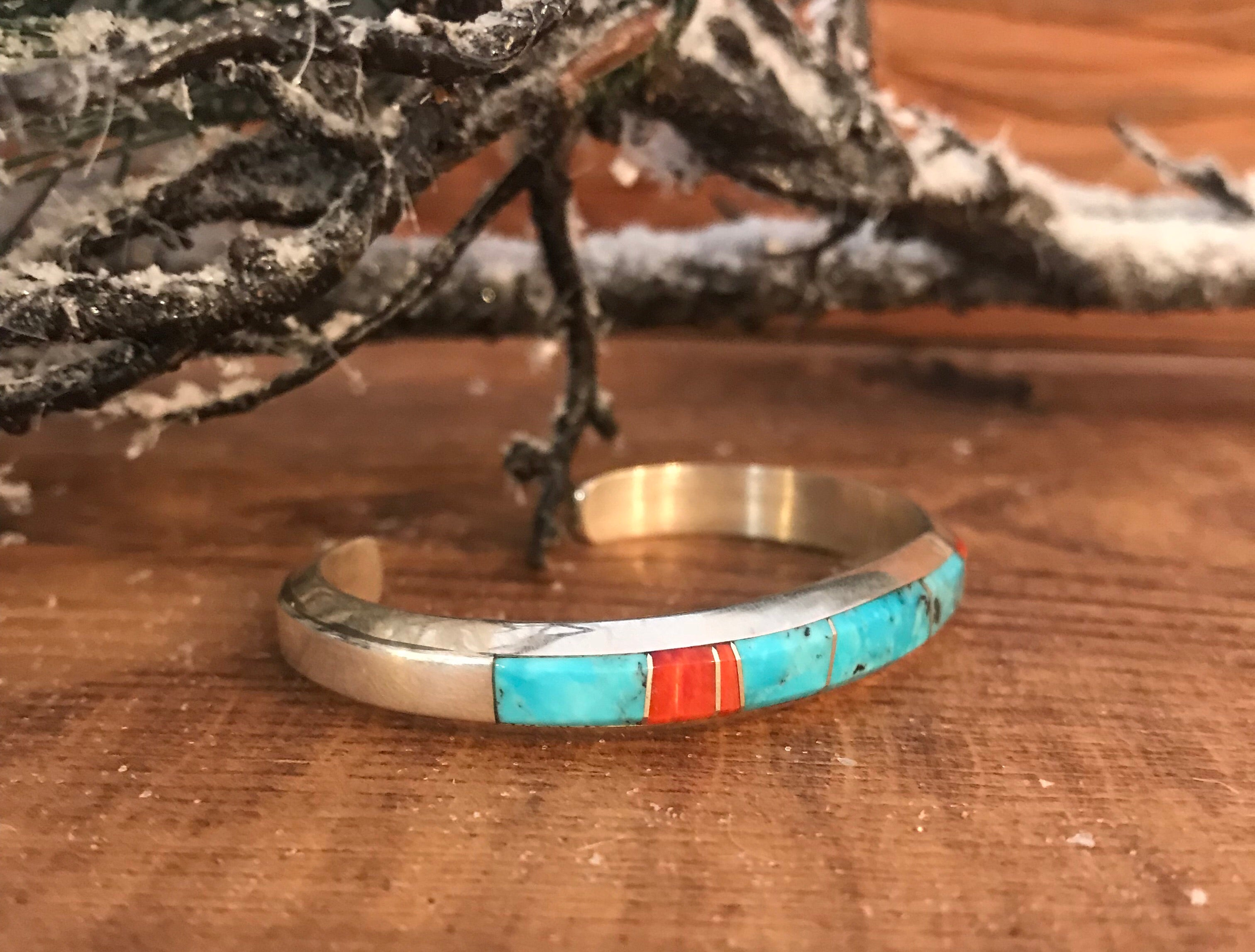 The Adam Turquoise and Coral Stacker Cuff - Ny Texas Style Boutique