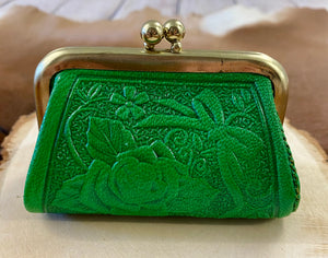 The Green Tooled Leather Coin Purse