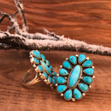 El Sleeping Beauty Turquoise Cluster Ring