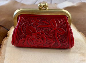 The Red Tooled Leather Coin Purse
