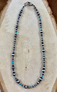"The Turquoise & Navajo Pearl 18"" Necklace - Ny Texas Style Boutique"