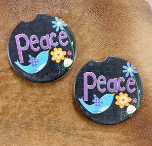 Set of Peace Car Coasters - Ny Texas Style Boutique
