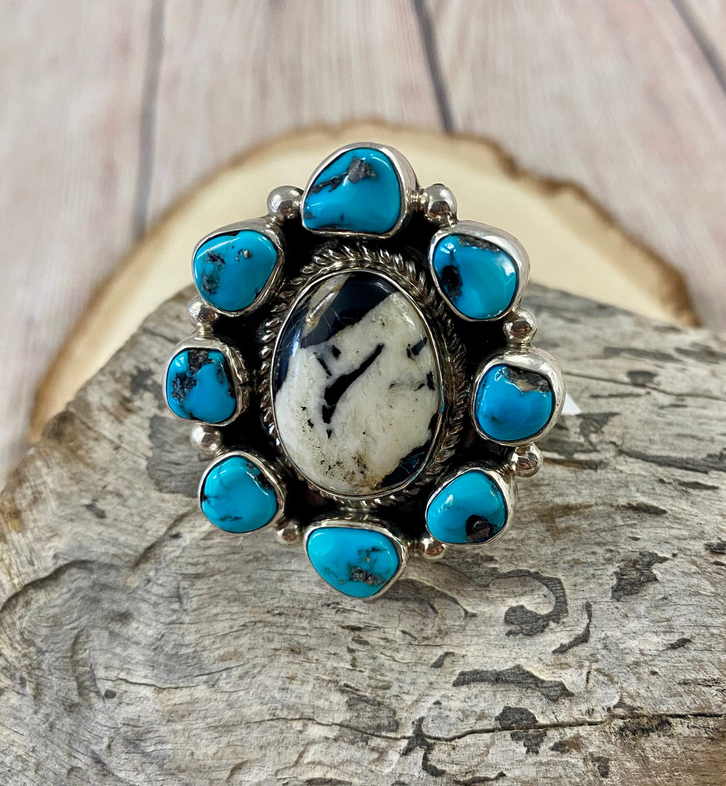 The Turquoise & White Buffalo Ring (Adjustable)