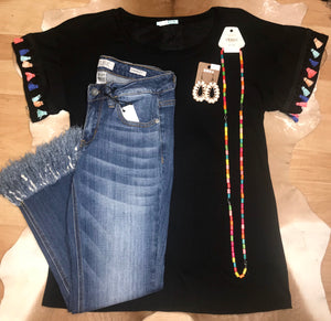 The Black Pom Pom Top - Ny Texas Style Boutique