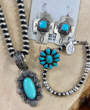 The Cross Turquoise Stone Earrings - Ny Texas Style Boutique