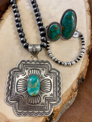 The Large BLKGT Turquoise Pendent - Ny Texas Style Boutique