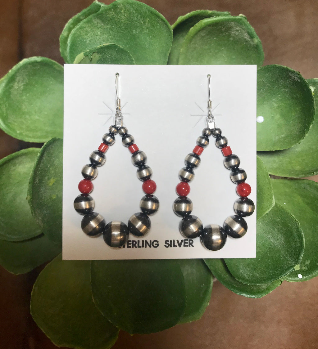 Red Hot Navajo Pearl Tear Drop Earrings - Ny Texas Style Boutique
