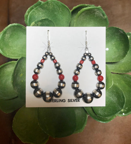 Red Hot Navajo Pearl Tear Drop Earrings