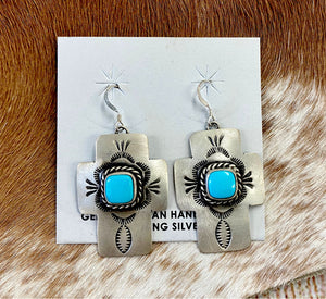 The E Cross Turquoise Stone Earrings - Ny Texas Style Boutique