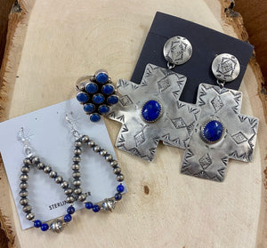 The Lapis Cross Earrings - Ny Texas Style Boutique