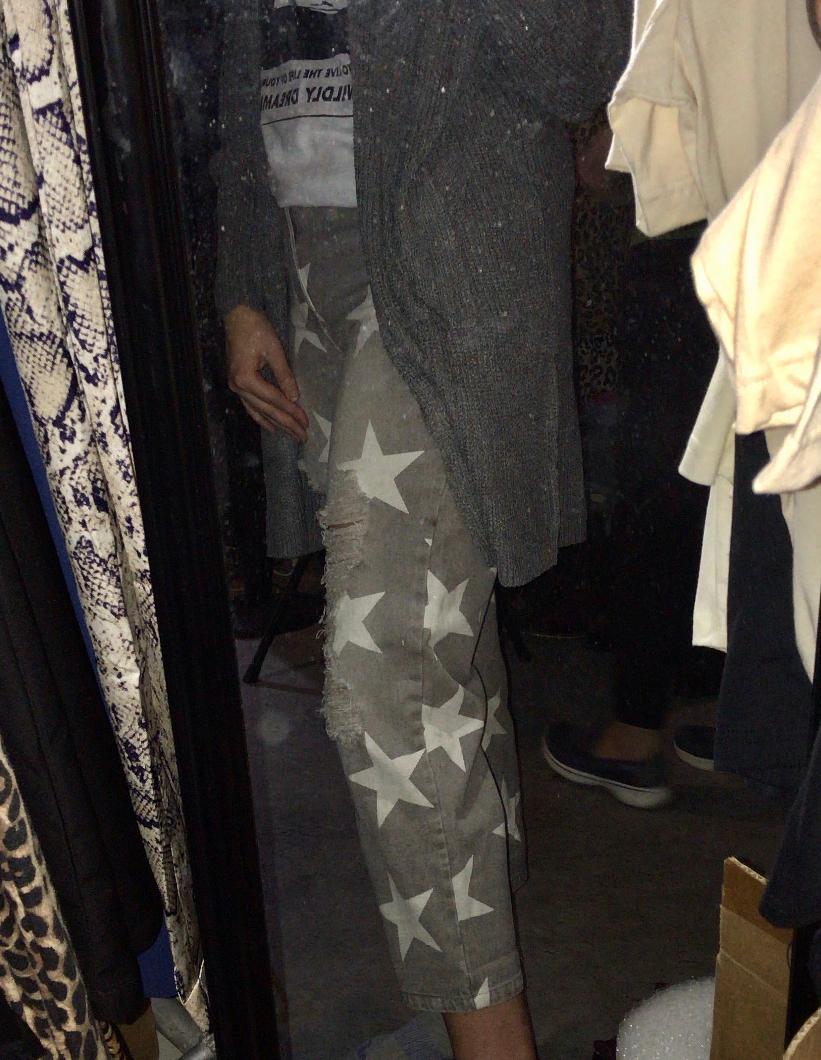 The Dime Store Cowgal Star Print Jeans (Grey) - Ny Texas Style Boutique