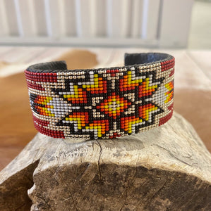 The Red Aztec Beaded Cuff