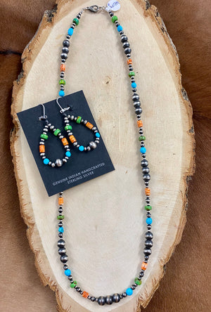 "The Navajo Pearl & Mixed Stones Necklace 22"" - Ny Texas Style Boutique"