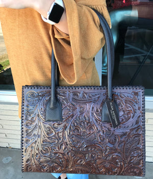 Ole Bobby Juan Antonio Tooled Leather Brown Purse - Ny Texas Style Boutique