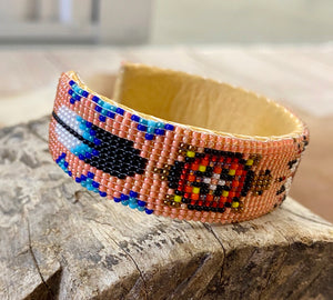 The Peachy Peachy Aztec Beaded Cuff - Ny Texas Style Boutique