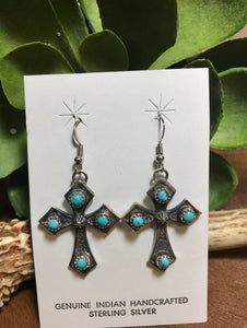 Have Faith Turquoise Cross Earrings - Ny Texas Style Boutique