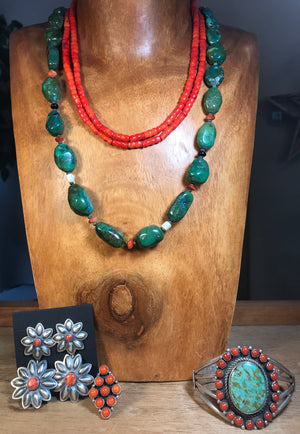 The Fireman Coral Beaded Necklace - Ny Texas Style Boutique