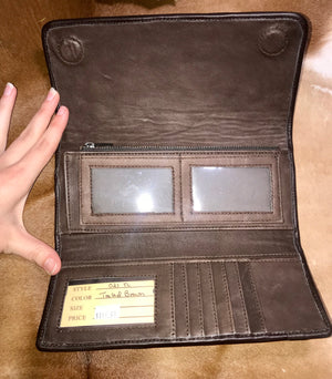 Ole Juan Brown Tooled Leather Wallet - Ny Texas Style Boutique