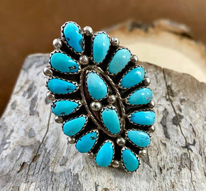 The EJW Turquoise Cluster Ring (Size 9) - Ny Texas Style Boutique