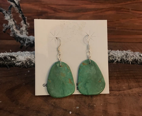 The Martina Green Turquoise Slab Earrings