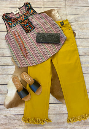 THE MUSTARD BOYFRIEND FRAYED JEANS - Ny Texas Style Boutique