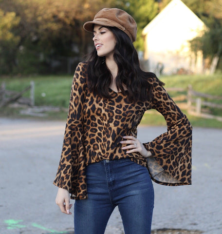 Leopard Bell Sleeve Top - Ny Texas Style Boutique