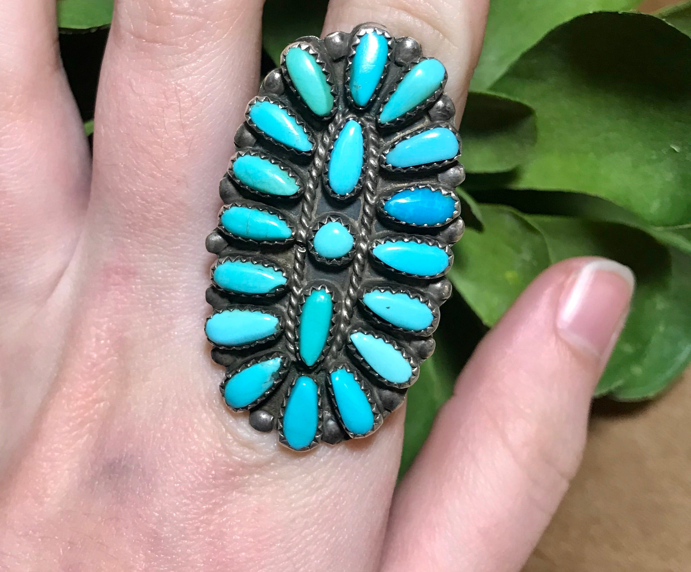 The P. Jones Turquoise Cluster Ring (Size 7.5) - Ny Texas Style Boutique